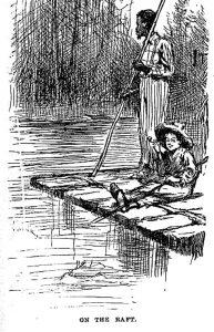 Huck and Jim on a raft